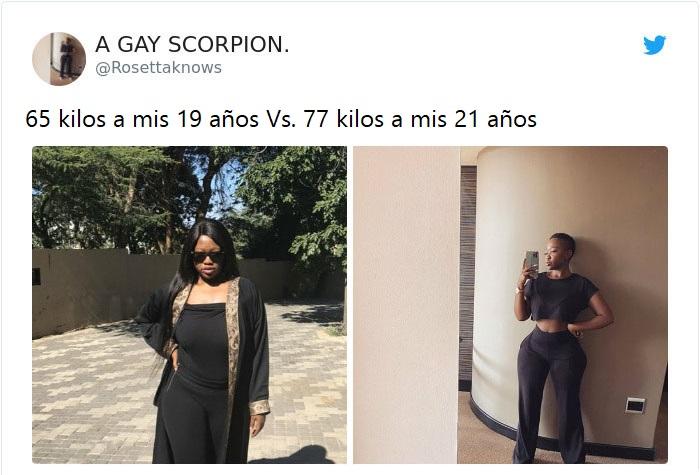 Mujer antes y después de subir de peso llevando prendas en tono negro