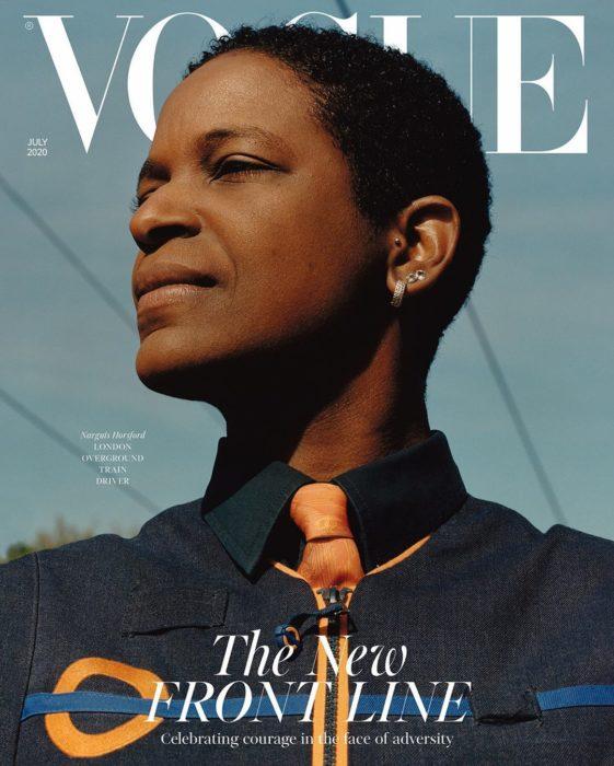 Narguis Horsford, conductora de tren en Londres, en la portada de Vogue
