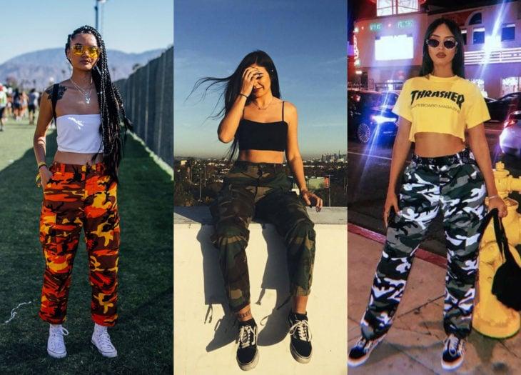 Ropa trendy, outfits; pantalones de camuflaje, verde, anaranjado y blanco, chica morena con trenzas afroamericanas
