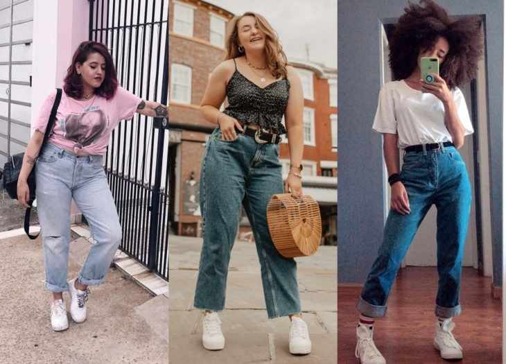 Trendy clothes, outfits; mom jeans
