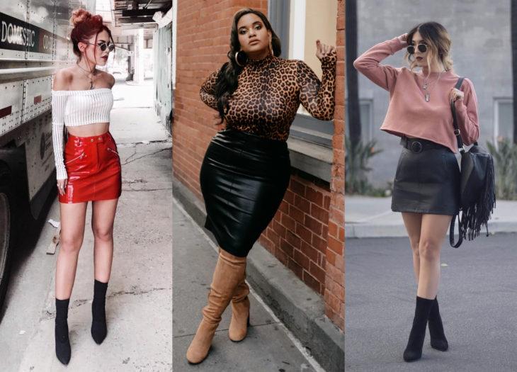 Trendy clothes, outfits; vinipiel skirt