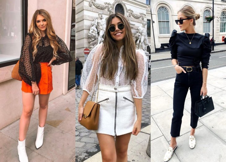 Trendy clothes, outfits; gigot sleeve tops