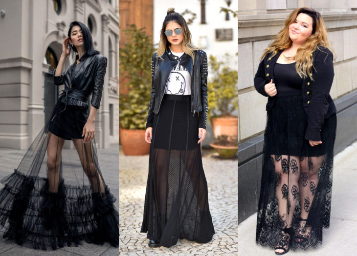 Trendy clothes, outfits; black skirts with transparencies