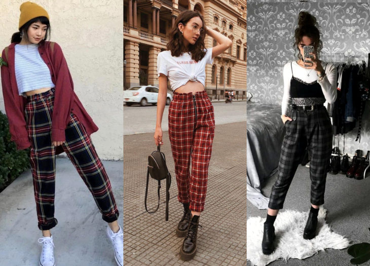 Trendy clothes, outfits; checked pants