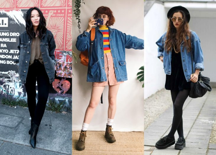 Trendy clothes, outfits; oversized denim jacket