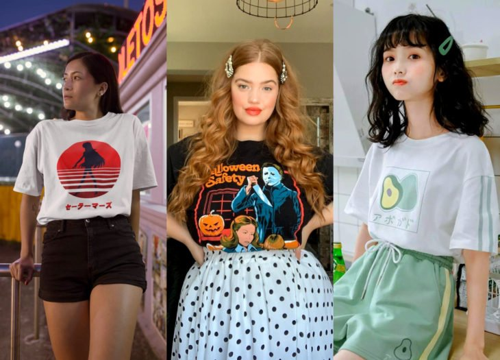 Ropa trendy, outfits; blusa con estampados de Sailor Moon, Halloween y aguacate