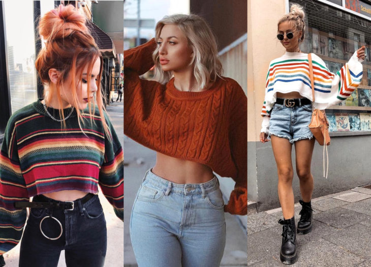 Trendy clothes, outfits; crop top sweatshirts