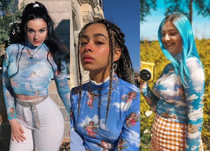 Trendy clothes, outfits; blue blouses with angel print, collide of black hair combed into a high ponytail, brunette woman with african braids, woman with pastel bluish hair