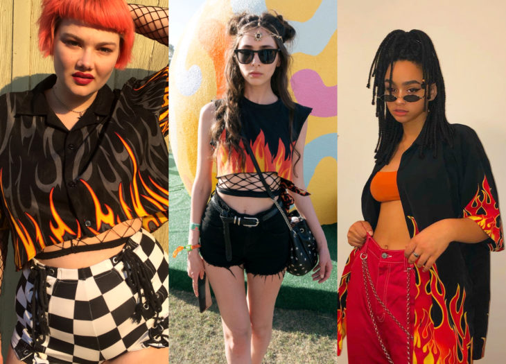 Trendy clothes, outfits; orange flame print blouses, orange dyed mushroom hair girl, woman in music festival outfit, african american girl with braids