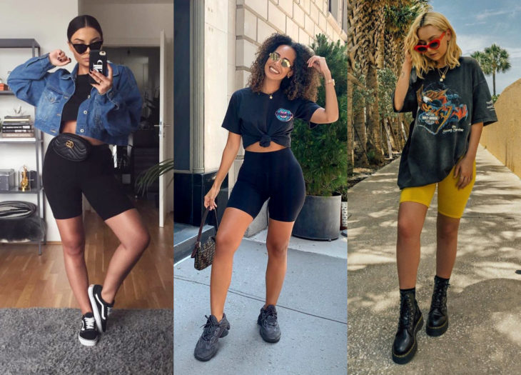 Trendy clothes, outfits; biker shorts, shoulder-length blonde girl, African American woman with loose Chinese hair