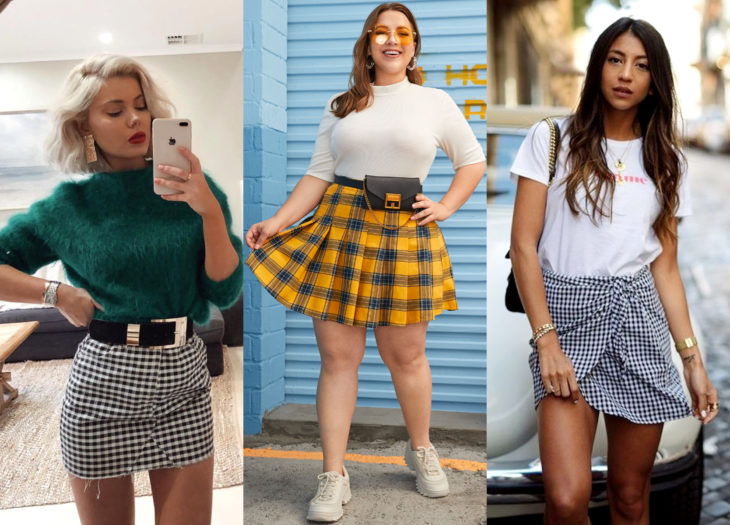 Trendy clothes, outfits; White, black, yellow and blue check mini skirt