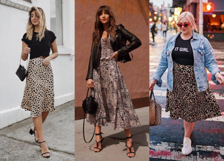 Trendy clothes, outfits; animal print dresses and skirts