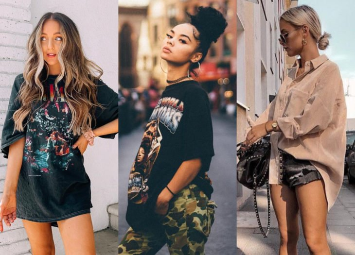 Trendy clothes, outfits; oversized blouses and shirts