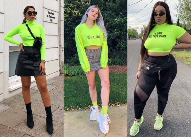 Trendy clothes, outfits; neon blouses