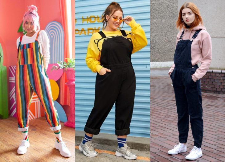 Trendy clothes, outfits; black, blue, and rainbow colored overalls