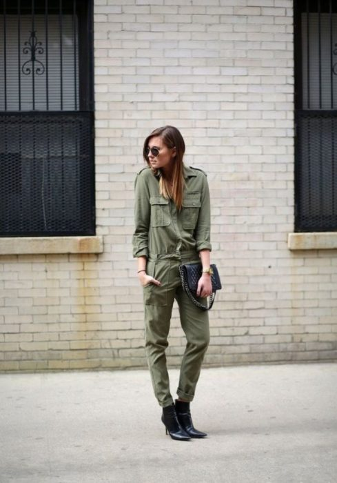 Girl wearing army green jumpsuit