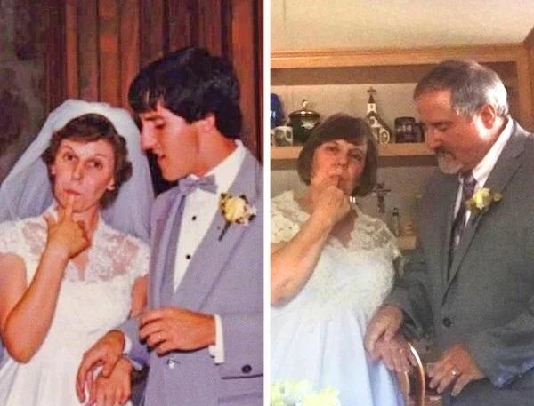 Pareja de novios frente a un pastel, chica con vestido de novia blanco comiendo pastel, chico con traje sastre en tono gris