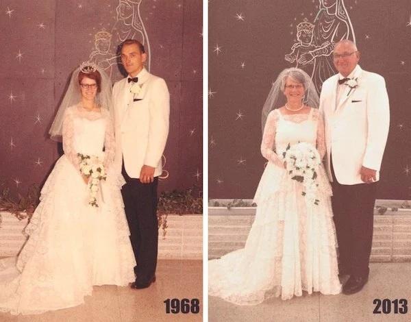 Pareja de novios vistiendo vestido de novia con encaje y velo largo y traje saastre negro con saco blanco