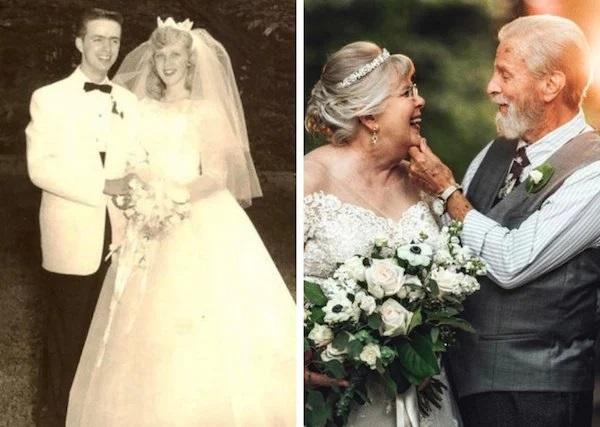 Pareja de esposo recien casados lelvando vestido blanco ampón y traje sastre en tono blanco perla