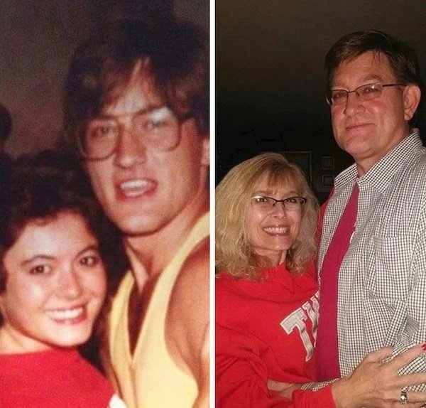 Pareja de esposo antes y después de casarse llevando suéter rojo y camisa a cuadros