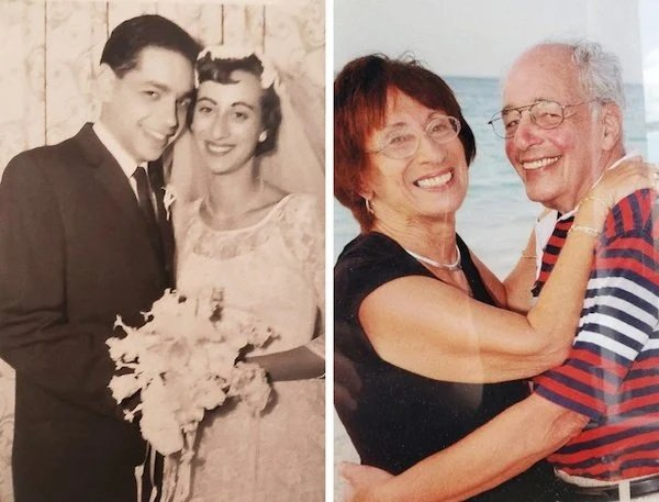 Pareja de abuelitos en sus fotografías de bodas con vestido blanco vintage y traje sastre en negro
