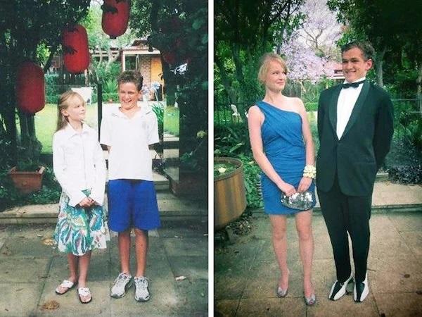 Pareja de novios antes y después de conocerse, chica con vestido azul rey de graduación y chico llevando smoking negro