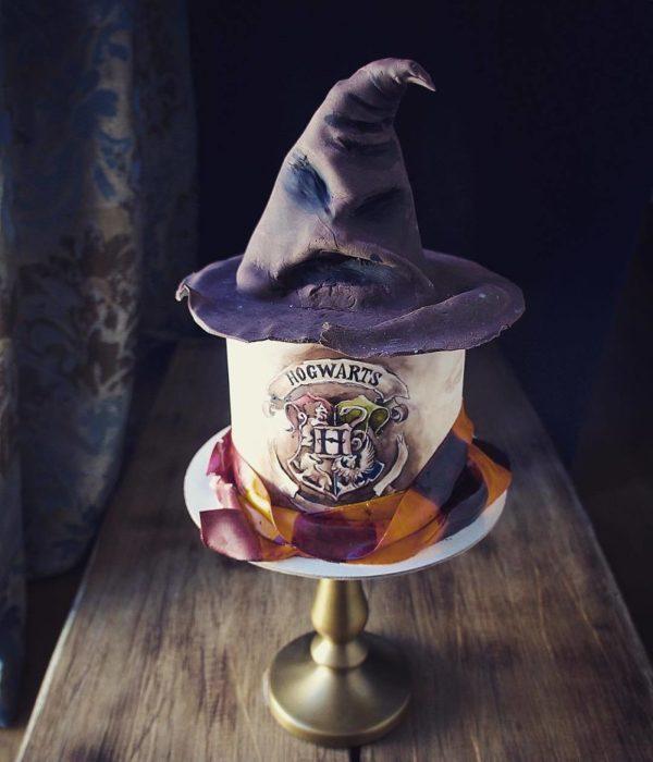 Pastel de Libro y sombrero de Harry Potter