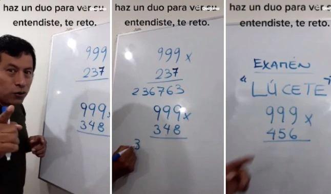 Fidel Medina explicando clases de matemáticas en una pizarra