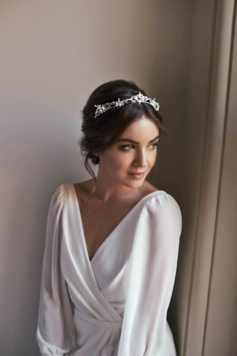 Loose bridal updo with headdress
