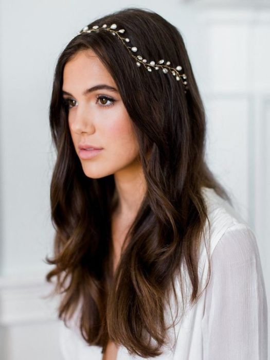 BRIDE with loose brown hair with headdress