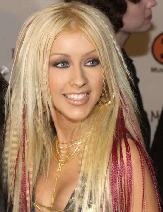 Cristina Aguilera with floppy hair and waffles