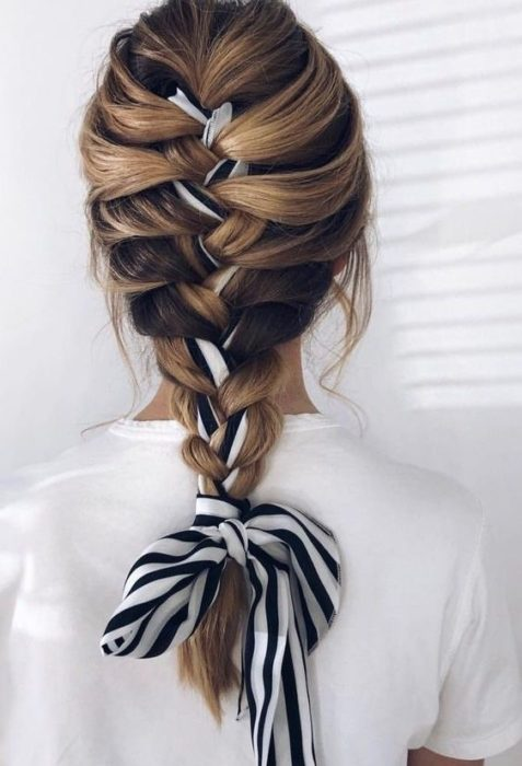 French braid with black and white scarf