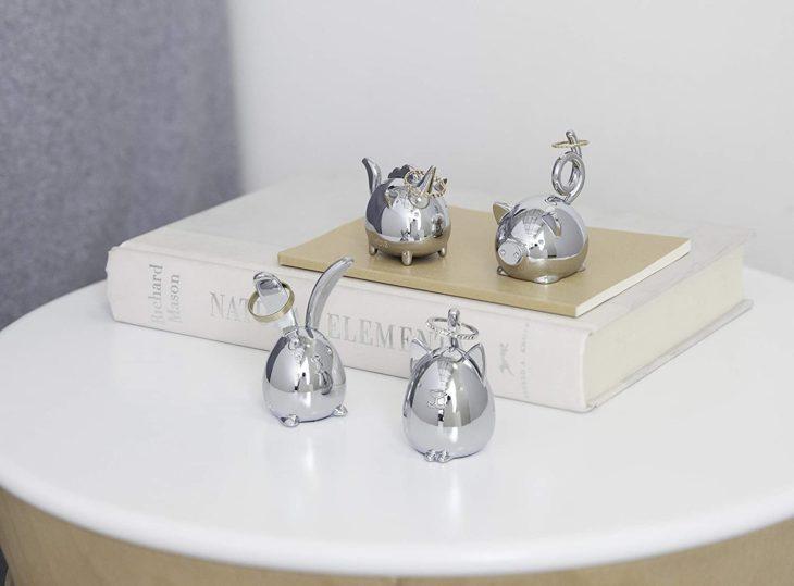 Poranillos de animalitos color plata