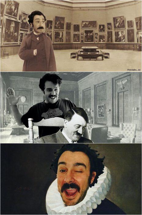 Profesor Paco Pajuelo disfrazado como personajes históricos