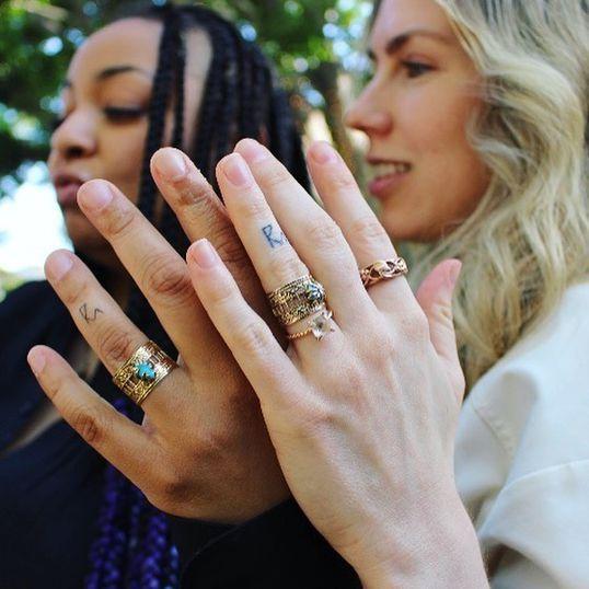Raven-Symoné y Miranda Maday mostrando sus sortijas de compromiso