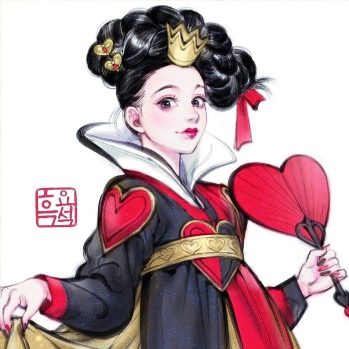 Ilustración digital de Reina de corazones de Alicia en el País de las Maravillas