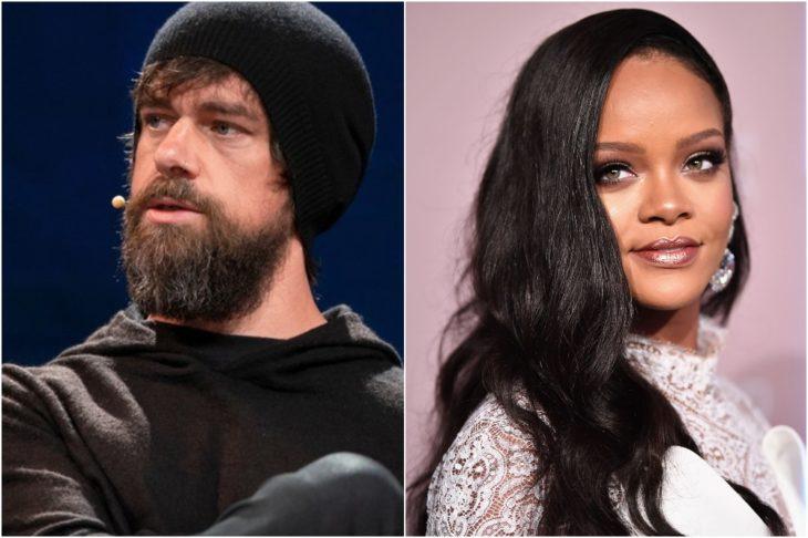 Rihanna, cantante, usando labial rosa, sombras cafés, vestido con encaje en color blanco, con cabello teñido en negro, Jack Dorsey en una conferencia con micrófono corto, gorro negro y sudadera negra