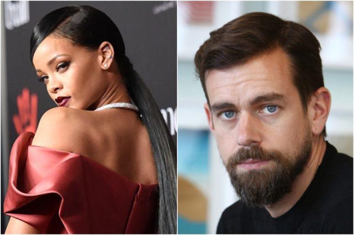 Rihanna y Jack Dorsey donan 15 millones de dólares a los servicios de salud mental antes Covid-19. RIhanna posando de espaldas con vestido rojo cereza y peinado de coleta baja, Dorsey Ceo de Twiter con barba cerrada, cabello castaño, ojos azules