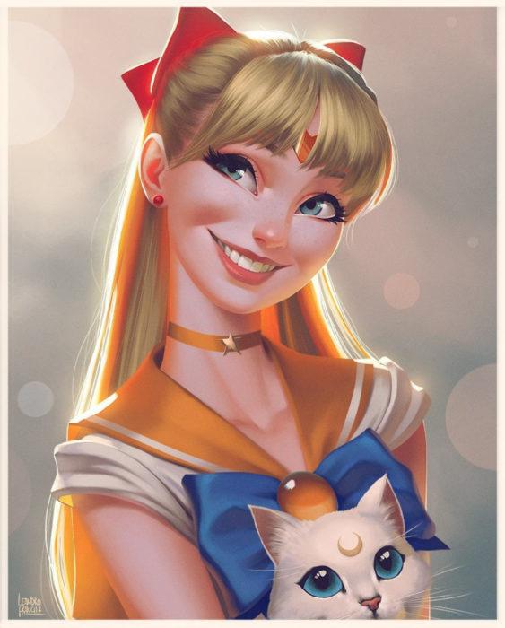 Leandro Franci ilustrador; artista hace ilustración digital de Sailor Moon, Mina, Venus