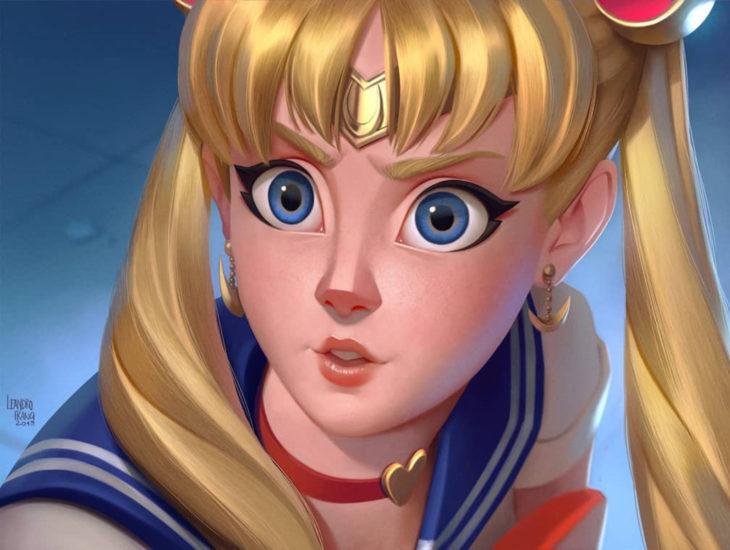 Leandro Franci ilustrador; artista hace ilustración digital de Sailor Moon, #SailorMoonRedraw, Serena Tsukino