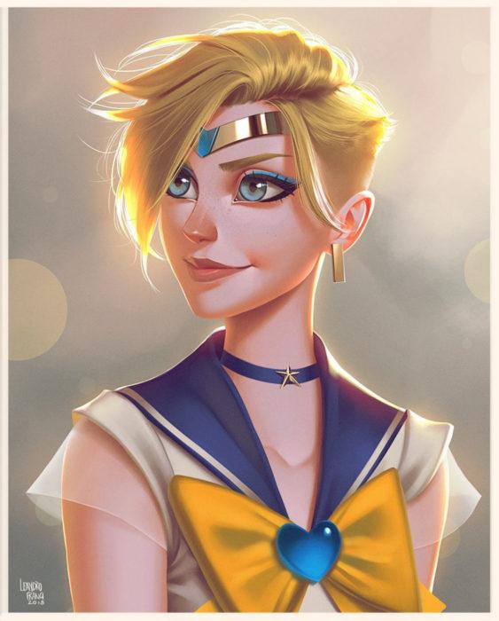 Leandro Franci ilustrador; artista hace ilustración digital de Sailor Moon, Haruka, Urano