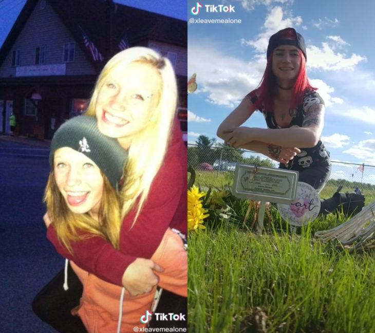 Challenge triste de TikTok; foto antes y después con ser querido que ya no está; amigas