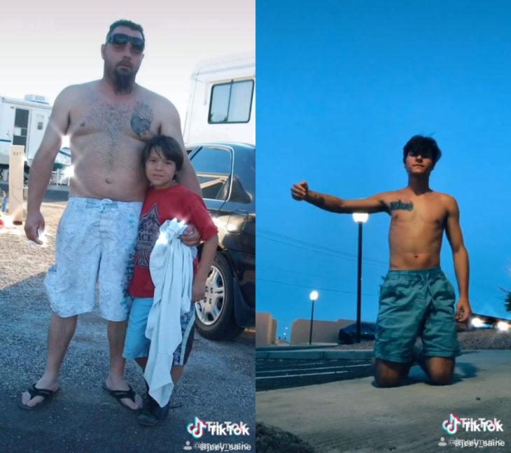 Challenge triste de TikTok; foto antes y después con ser querido que ya no está; papá e hijo abrazados