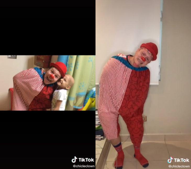 Challenge triste de TikTok; foto antes y después con ser querido que ya no está; payaso con niña