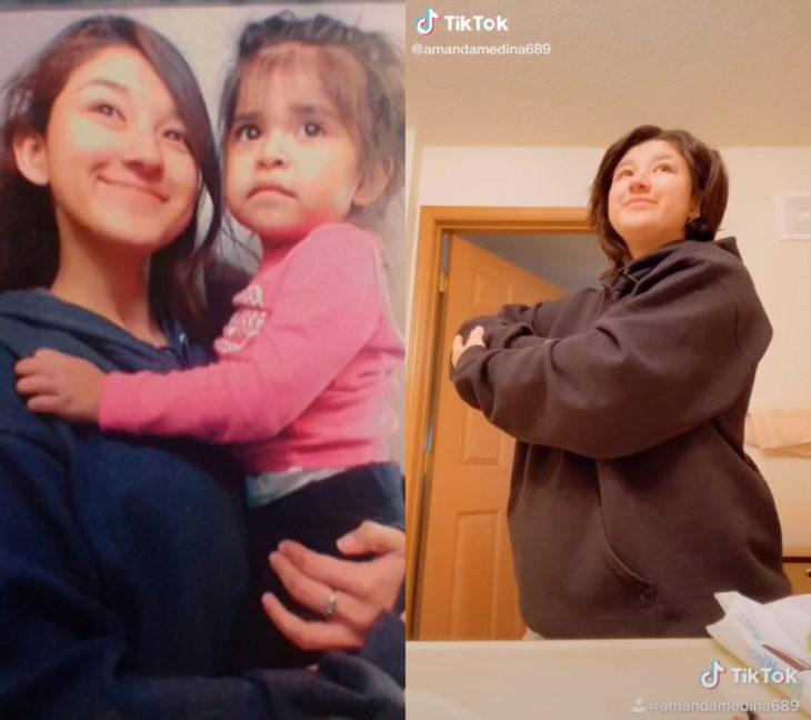 Challenge triste de TikTok; foto antes y después con ser querido que ya no está; hermanas