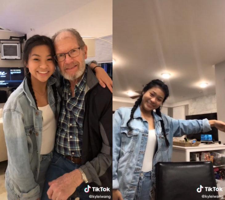 Challenge triste de TikTok; foto antes y después con ser querido que ya no está; abuelo y nieta