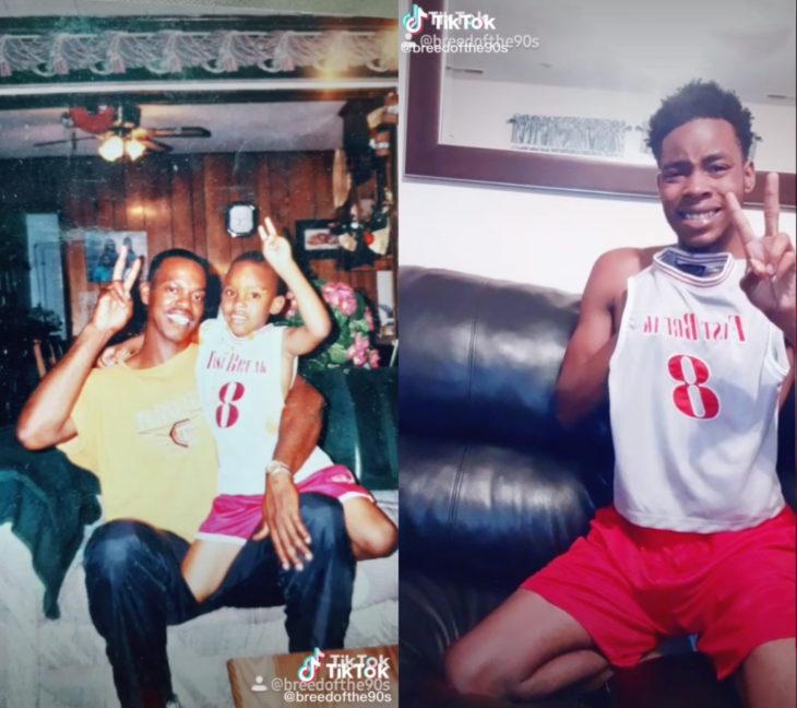 Challenge triste de TikTok; foto antes y después con ser querido que ya no está; papá e hijo