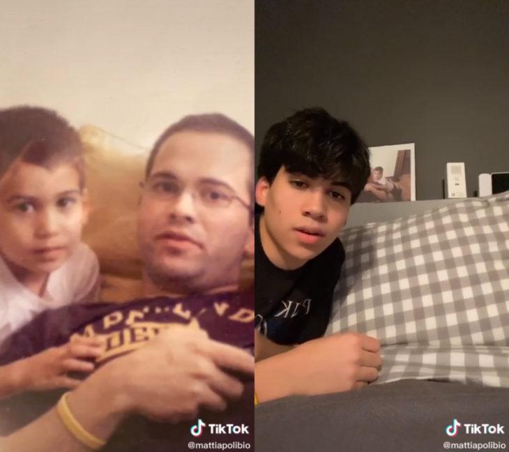 Challenge triste de TikTok; foto antes y después con ser querido que ya no está; hijo al lado de su papá