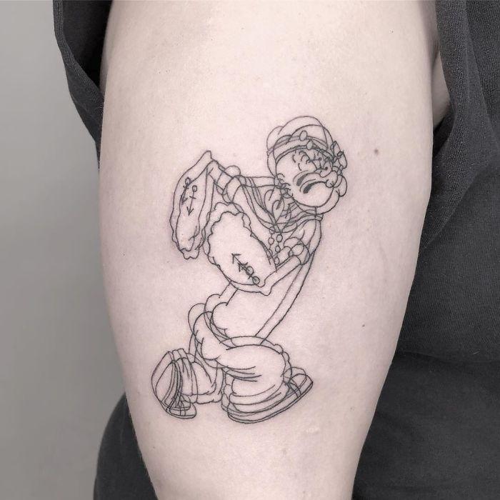 Tatuaje de ilusión óptico de Popeye el marino