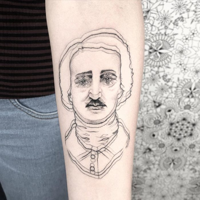 Tatuaje de ilusión óptico de Edgar Allan Poe